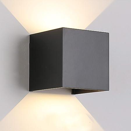 TVGO Applique Murale Intérieur/Extérieur Moderne Eclairage LED Mural avec Angle de Rayonnement Réglable IP65 Etanche 3000K Blanc Chaud (7W Noir) Aluminium 7W
