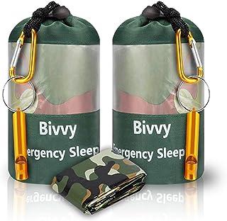 AMOYON Lightweight Waterproof Emergency Survival Sleeping Bag PE Bivy Sack Thermal Emergency Blanket with Portable Drawstr...