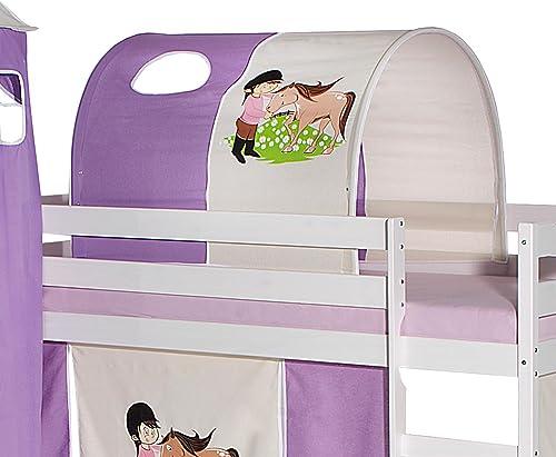 IDIMEX Tunnel Tente pour lit surélevé superposé mi-Hauteur Mezzanine Tissu Coton Motif Poney Violet