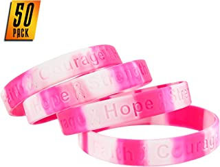 Skeleteen Breast Cancer Awareness Bracelets - Pink Ribbon Camouflage Silicone Rubber Cancer Support Bulk Party Giveaways Favors - Lot of 50
