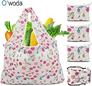 O'woda 4pcs Bolsa Compra Plegable Reutilizables,Lavable y Transpirable,Bolsas de Supermercado Ecológicas Adecuada para Fruta,Verduras y Juguete(Cereza)