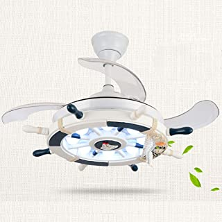 Tengchang LED Remote Ceiling Fan Light Color Temperature Adjustable Child Room Navy Style