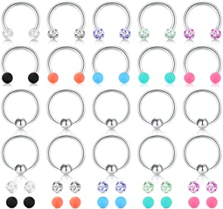 LAURITAMI 16G Surgical Steel Horseshoe Captive Bead Nose Hoop Ring Septum Eyebrow Lip Cartilage Helix Tragus Earring Hoop Rings Piercing Jewelry for Women Men 8mm 10mm with Replacement Balls