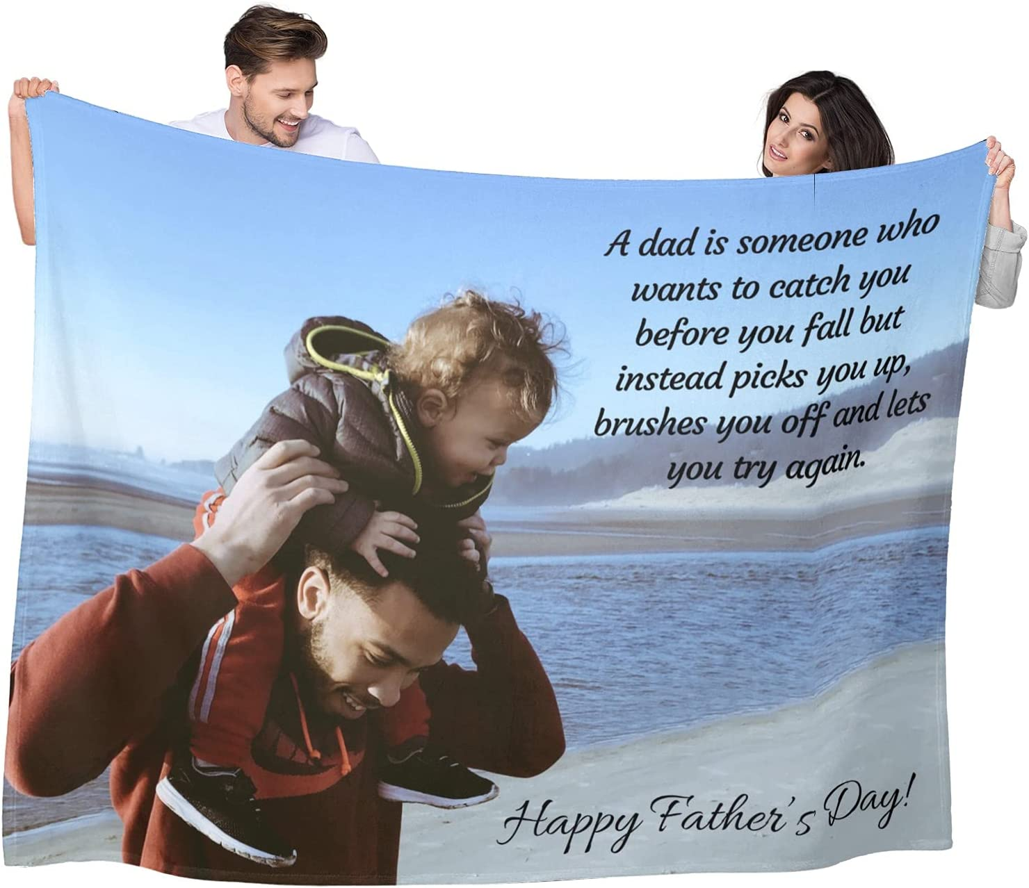 Happy Fathers Day 100% quality warranty Customized Over item handling Blanket with Cu for Text Loving Dad