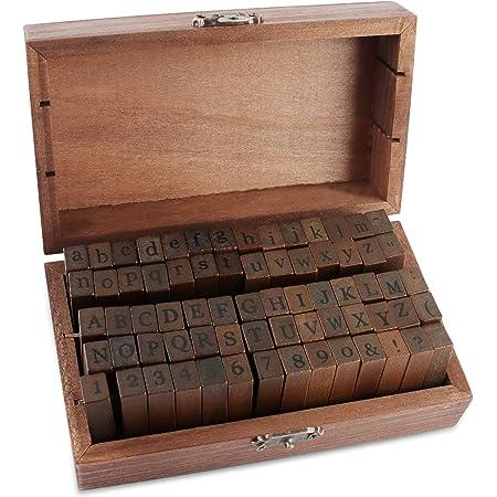EKKONG 70PCS Tampons Alphabet avec Une boîte en Bois Vintage Stamp Set Tampons en Caoutchouc avec Chiffres et Lettres de l'alphabet dans pour Kit Loisirs Créatifs et Artistiques