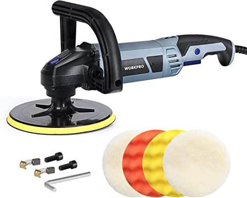 high quality WORKPRO Buffer Polisher - 7-inch Buffer Waxer with 4 Buffing and Polishing Pads, 6 Variable Speed 1000-3800 2021 RPM, Detachable Handle, Ideal for Car Sanding, Polishing, wholesale Waxing, Sealing Glaze sale