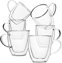 BTäT- Small Espresso Cups, Demitasse Cups, Set of 6 (2.0 oz, 60 ml), Glass Coffee Mugs, Double Wall Glass Cups, Cappuccino Cups, Latte Cups, Clear Coffee Cup, Tea Glass, Espresso Glass, Glass Tea Cups