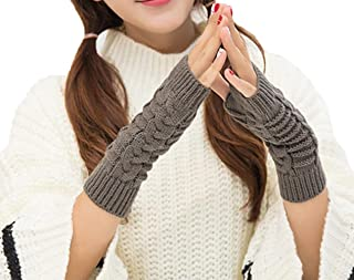 Bullidea Women Lady Winter Knitted Long Fingerless Gloves Solid Color Creative and Elegant Design for Daily Life Use Keep Warm in Cold Weather(Dark Grey)