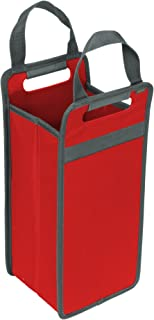 meori Foldable 2 Bottle Hibiscus Red/Collapsible Reusable Transport to Dinner Party Wine Tote, 2 Slot