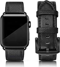 SWEES Leather Band Compatible for Apple Watch 42mm 44mm, Genuine Leather Strap Wristband Classic Compatible iWatch Series 4, Series 3, Series 2, Series 1, Sports & Edition Men, Lichee Black