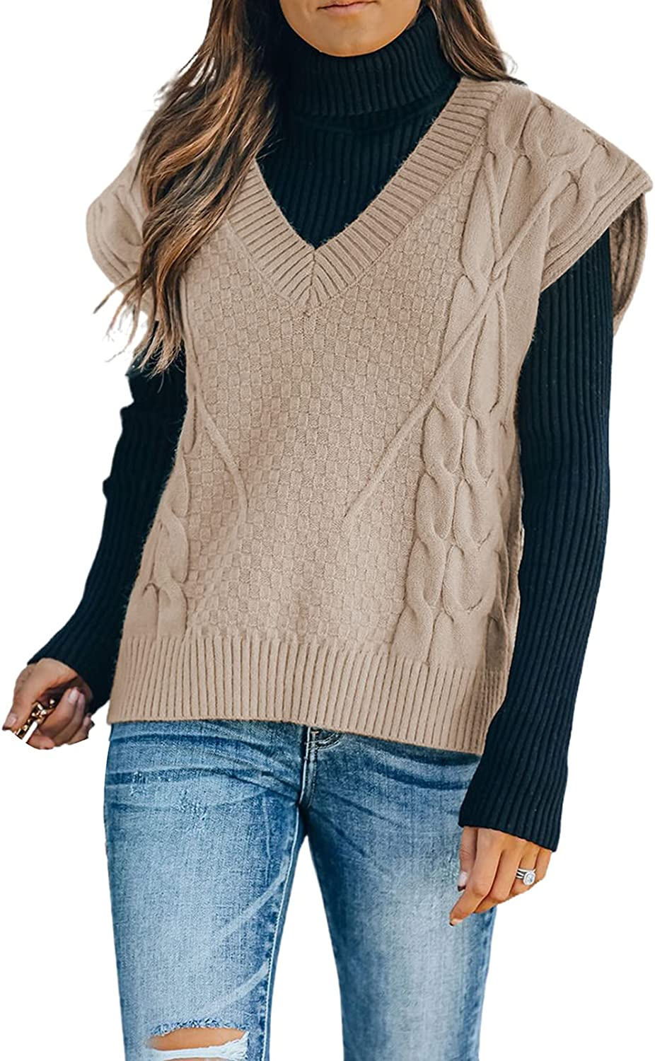 Actloe Womens V Neck Sleeveless Color Block Vintage Sweater Vest Pullover Tops