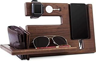 Wood Phone Docking Station Oak Recess Key Holder Wallet Stand Magnetic Watch Charger Slot Organizer Men Gift Husband Wife Anniversary Dad Birthday Nightstand Tablet Father Graduation Male Travel Idea