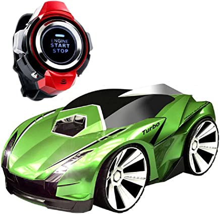 Megadream Race Car, 2.4Ghz Voice Remote Watch Control Toy RC Vehicle for Kids Racing Birthday Christmas Gift with Light On & Off, Engine Start & Brake Sound, Drift and Turbo Mode – Green