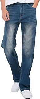 JiaYou All Seasons Classic Ripped Mid Waist Flex Stretch Straight Loose Fit Pants Trousers Denim Jeans