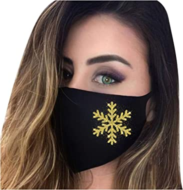 ROOO Valentine's Day Printing Face Cover Unisex Adult Face 𝓶𝓪𝓼𝓴 Comfortable Protection 3-ply Filter,5pc Snowflake Print A