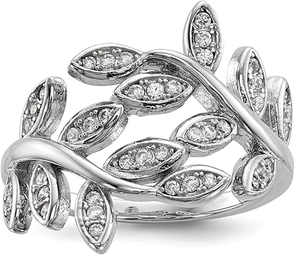 925 Sterling Silver Leaf Cubic Zirconia Band Cz Limited 35% OFF time for free shipping Ring Flowe Stone