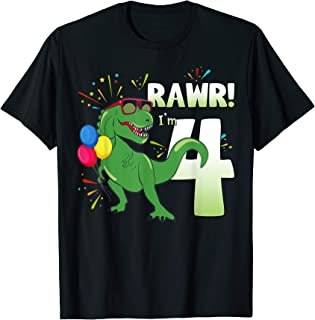 Birthday Dinosaur Shirt T Rex Rawr Im 4 Years Old Boys Gift