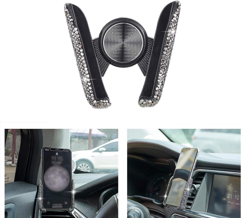 ATMOMO Black Bling Crystal Car Phone Mount Universal Air Vent Car Phone Holder Dashboard Phone Mount Stand Holder