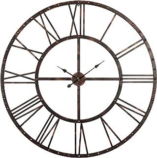 "Utopia Alley Rivet Roman Industrial Oversize Wall Clock, Antique Bronze, 45"" L x 45"" H"