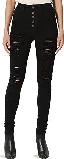 Curvy Butt Elastic Waist Band Stretch Soft Denim Skinny Jeans in Black