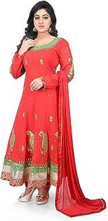 Utsav Fashion Gota Patti Georgette Anarkali Suit in Red