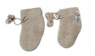 100% Cashmere Baby Bootees Socks, 4 PLY Mongolian Cashmere 26/2 Yarn, Knitted, Light Brown Newborn 6-18 Months © Moksha Cashmere