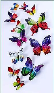 FFAA Mariposas Naturales Pegatinas de Pared 3D Maceta Accesorios para el hogar Dormitorio jardín Sala de Estar Cocina flor...