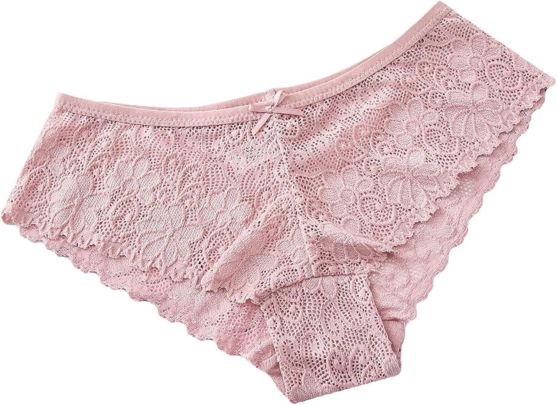 VonVonCo 3Pc Sexy Lingerie for Women Flowers Lace Underware Panties Underwear Lingerie Female Thong Briefs