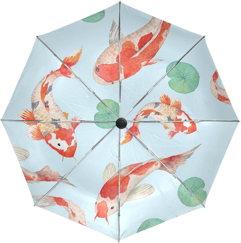 MASSIKOA Koi Carp Lotus Leaf Windproof Foldable Rain Travel Canopy Umbrella Auto Open Close Button
