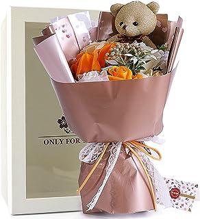 ソープフラワー プレゼント 母の日 花 造花 敬老の日 ギフト ボックス メッセージカード付き (褐色)