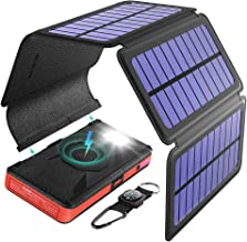 BLAVOR Solar Charger Five Panels Detachable, Qi Wireless Charger 20000mAh Portable Power Bank with Dual Output Type C Input Flashlight and Compass Kit (Red, 20000mah)