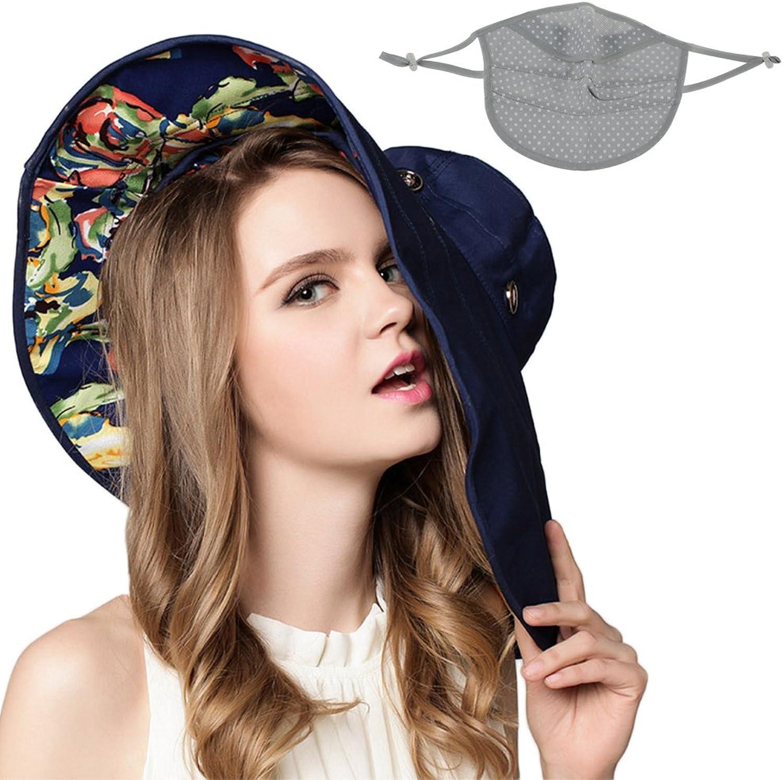 Mai Yi Sun Hats,Women's Removable Wide Brim Hat UV Predection Summer Beach Hat