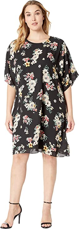 Plus Size Dolman Sleeve Floral Story Dress
