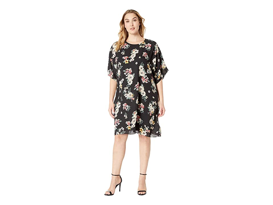 Vince Camuto Specialty Size Plus Size Dolman Sleeve Floral Story Dress (Rich Black) Women