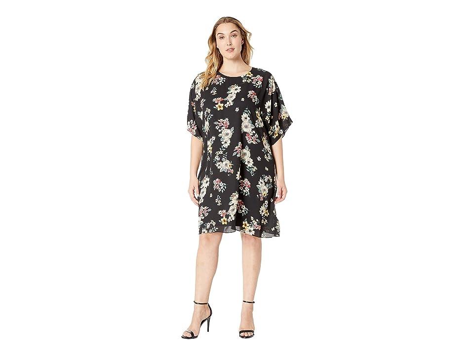 634048c60f19 Vince Camuto Specialty Size Plus Size Dolman Sleeve Floral Story Dress  (Rich Black) Women's Dress