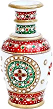 Handicrafts Paradise Gold Embossed Marble Flower Vase (7.65 cm x 7.65 cm x 15.3 cm)