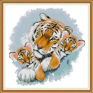Joy Sunday Stamped Cross Stitch Kits, Tiger Mother and Tiger Baby Cross-Stitch Sets 11CT Embroidery Kit Needlework