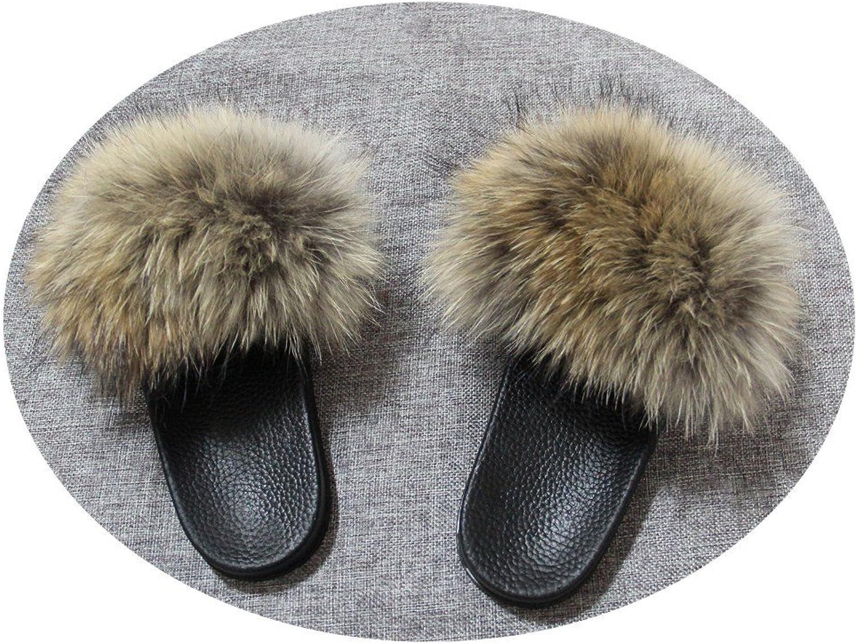 QMFUR Women Real Raccoon Fur Open Toe Single Strap Slip On Sandals (10, Natural)