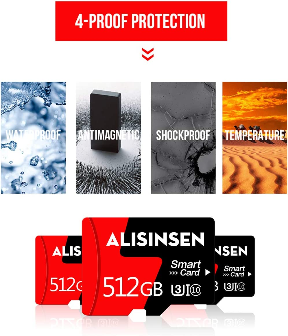 Micro SD Card 512GB TF Card Class 10 SD Memory Card High Speed with a SD Card Adapter for Tablet Computer/Phone/Surveillance Tachograph Drone/Action Camera/Surveillance&Security Cams(512-SDHH)