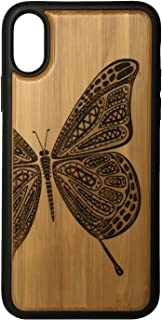 Butterfly phone Case Cover for iPhone XS & iPhone X by iMakeTheCase | Eco-Friendly Bamboo Wood Cover + TPU Wrapped Edges | Butterfly Tattoo. Flight, Freedom, Beauty Symbol.