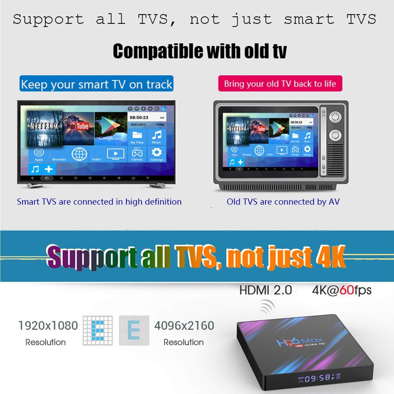 Android 9.0 TV Box,H96 MAX Android Box RK3318 Quad-Core 64bit Cortex-A53,4GB RAM 64GB ROM Media Player, 4K Ultra HD/H.265 / Dual WiFi 2.4G 5G / HDMI / 3D 100M Ethernet Family Video