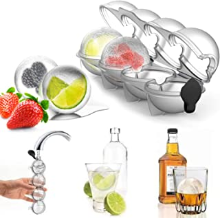 Olywee Ice Cube Trays - 4 Holes Whiskey Ice Ball Moulds Large Sphere Ice Ball Cube Mould Set for Cocktail, Bourbon, Juice, Summer Drink