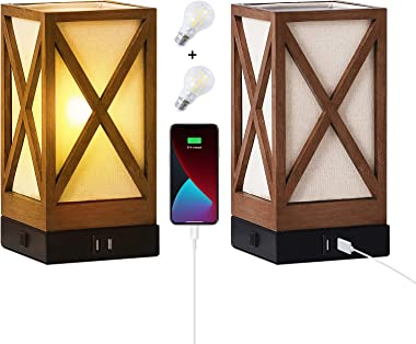 Nightstand Table Lamp Set of 2 Vintage Bedside Bronze Wood Finish Removable Shade with 2 USB Ports,AC Power Outlet for Bedroo