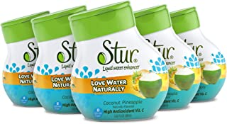 Stur - Coconut Pineapple, Natural Water Enhancer (5 Bottles, Makes 100 Flavored Waters) - Sugar Free, Zero Calories, Koshe...