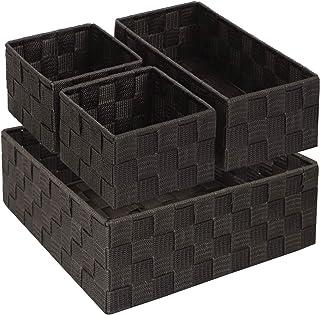 Lot de 4 boîtes de rangement pour étagères, tiroir de salle de bain - Avec cadre en métal résistant - Marron