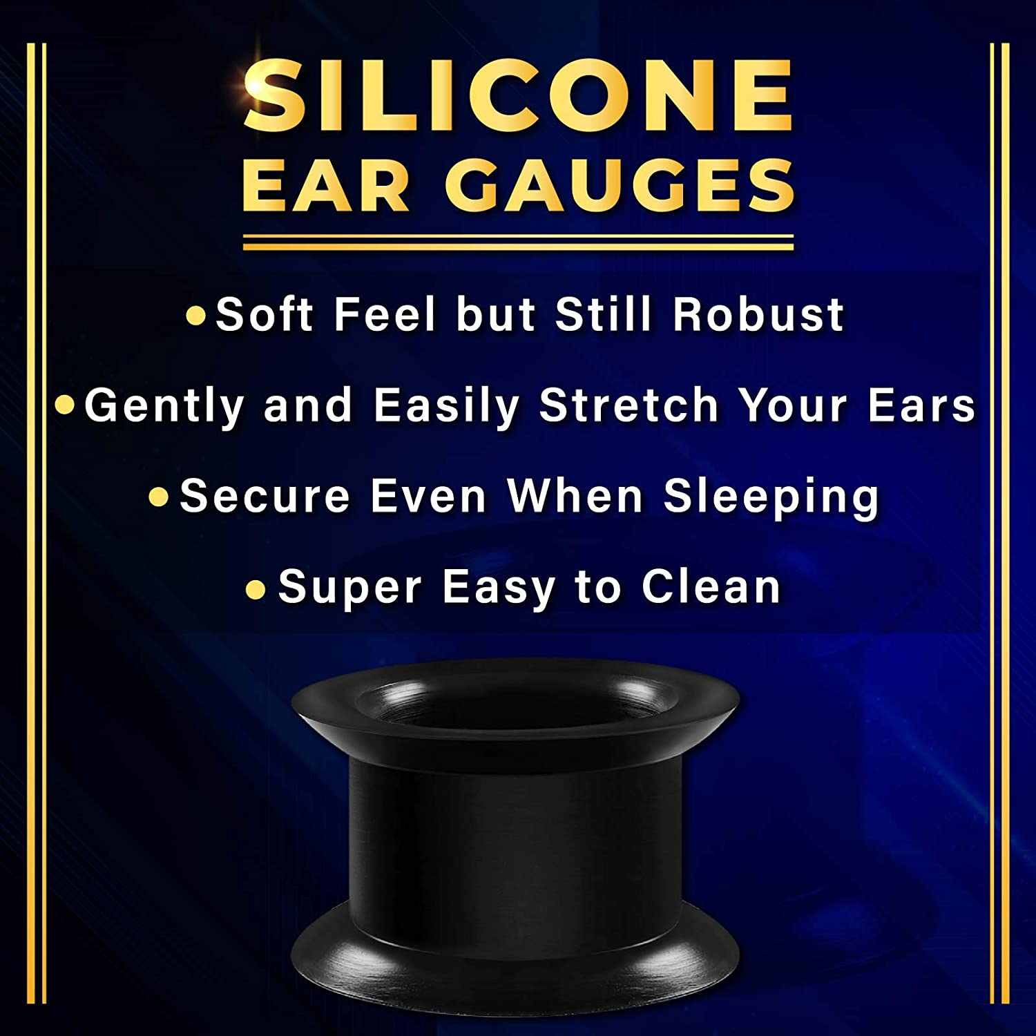 BIG GAUGES 2 Pairs Silicone Black & White Double Flared Flesh Piercing Jewelry Ear Stretching Lobe Plug Tunnel Earring