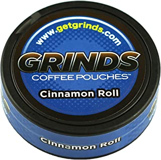 Grinds Coffee Pouches - 10 Cans - Cinnamon Roll - Tobacco Free, Nicotine Free Healthy Alternative