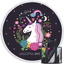 Sleepwish Unicorn Beach Towel Black Pink Round Beach Throw Blanket Fairy Animal Flowers Girls Beach Towels
