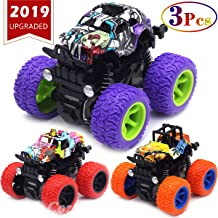 Monster Trucks Toys for Boys - Friction Powered 3-Pack Mini Push and Go Car Truck Jam Playset for Boys Girls Toddler Aged 2 3 4 5 Year Old Gifts for Kids Birthday (Purple, Red, Orange, 3-Pack)