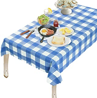 OUWIN 100% Waterproof Rectangle Tablecloth Spill-Proof Wipeable PVC Vinyl Table Cover Indoor Outdoor Picnic Table Cloth (54 x 84, Blue Checkered)